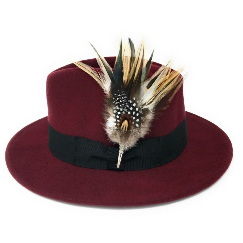 Wool  Burgundy Fedora Hat with Country Feather Brooch - Burford